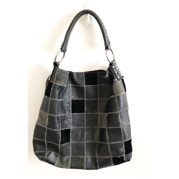 Lucky Brand Handbags - Lucky Brand Black Leather Handbag Purse Patchwork